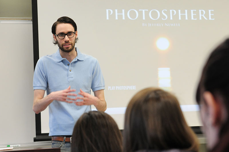 Filmmaker Jeffrey Newell '12, M '13 speaks to a class