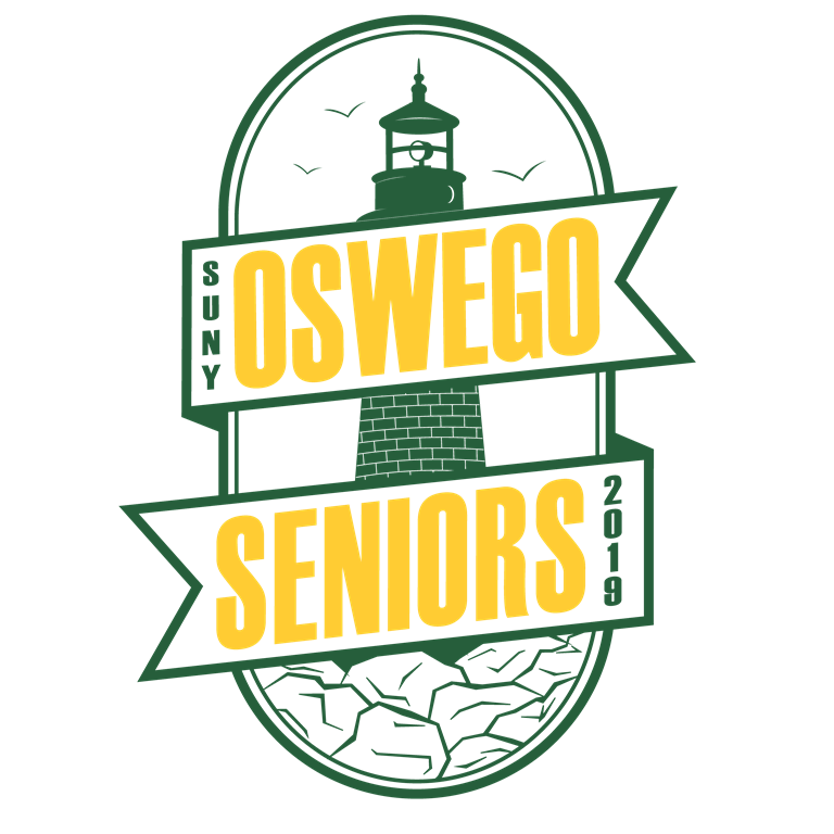 Logo that says SUNY Oswego seniors 2019 with a lighthouse